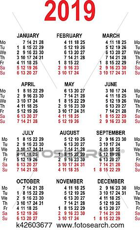Grille Calendrier 2019.Calendrier 2019 Grille Template Isole Clipart