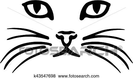 clip art of cat face k43547698 search clipart illustration rh fotosearch com cat face clipart png cat face clipart free
