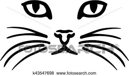 clipart gato rosto k43547698 busca de clip art ilustrações em