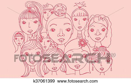 stock illustration of group of girls faces drawing k37061399