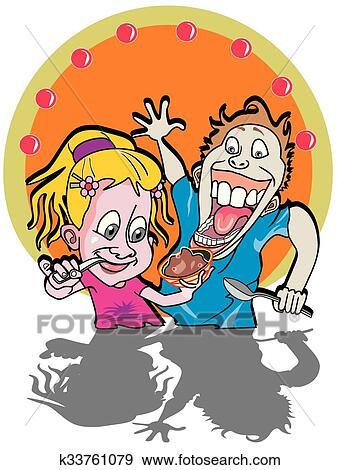 Clip Art Kinder Essen Eis Abbildung K33761079 Suche Clipart