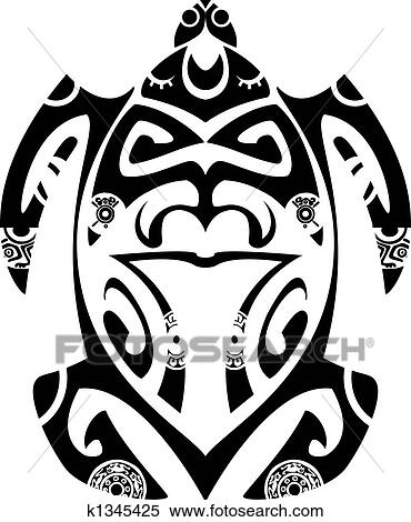 594d515e9 Maori tribal turtle - Tattoo style Clipart   k1345425   Fotosearch