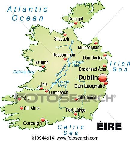 Galway Bay Ireland Map.Clipart Of Map Of Ireland K19944514 Search Clip Art Illustration