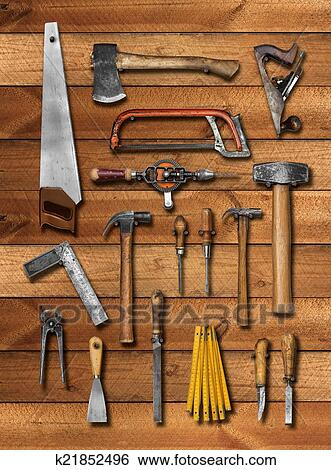 Stock Images Of Old Carpenter Hand Tools On Wood K21852496 Search