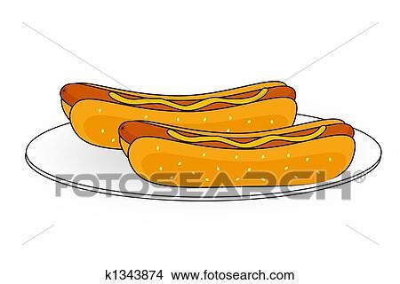 Dibujos Pareja De Hotdogs En Un Placa K1343874 Buscar Clip