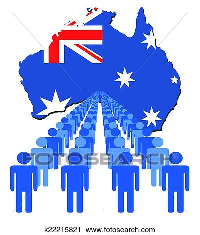Australia Map With Flag.People With Australia Map Flag Clipart