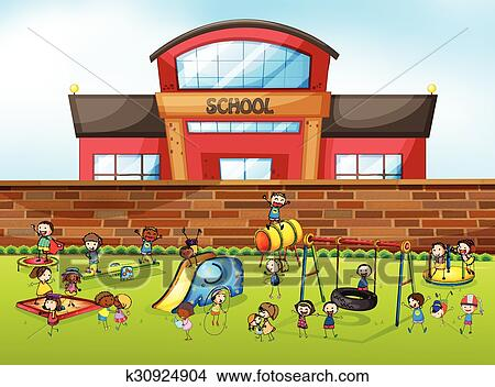 clipart of school building and playground k30924904 search clip rh fotosearch com clip art of school retirement clipart of school supplies