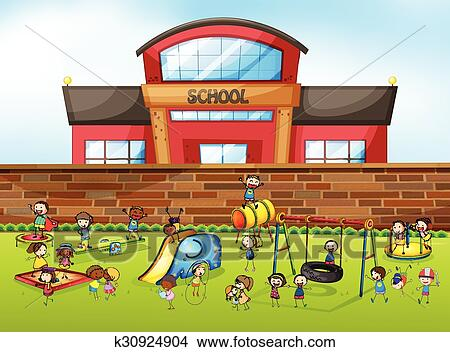 clipart of school building and playground k30924904 search clip rh fotosearch com clipart of school bus clipart of school children