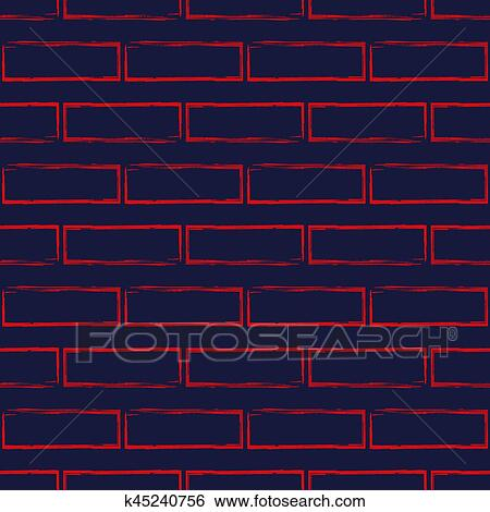 Stylized Brick Wall Vector Seamless Pattern Abstract Red Bricks On Navy Blue Background Modern Wallpaper Can Be Used For Graphic Design Fill