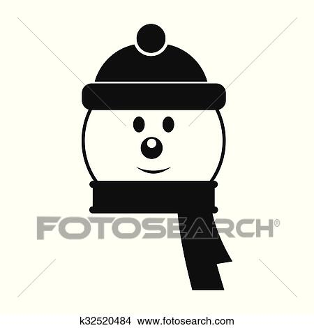 Clipart t te bonhomme de neige simple ic ne k32520484 recherchez des clip arts des - Clipart bonhomme de neige ...