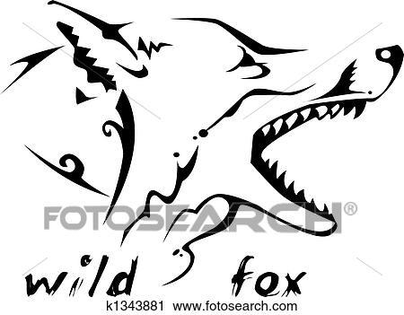 Clipart tribal tatouage sauvage renard k1343881 recherchez des clip arts des - Clipart renard ...