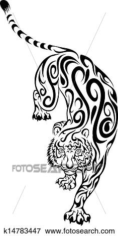 Tatuaje Tigre Tribal clip art - tribal, tigre, tatuaje k14783447 - buscar clip art