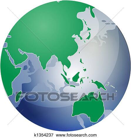 地図 の アジア 上に 地球 イラスト イラスト K1354237 Fotosearch