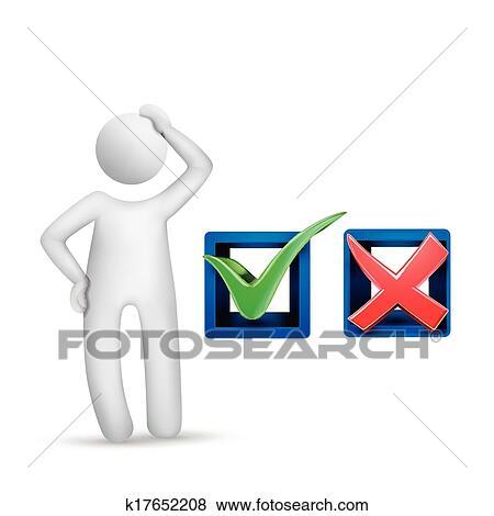 Clip Art Of 3d Human Character With Check Mark Symbols K17652208