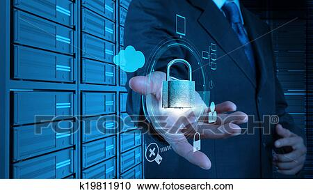 Businessman hand showing 3d padlock on touch screen computer as Internet  security online business concept Stock Image