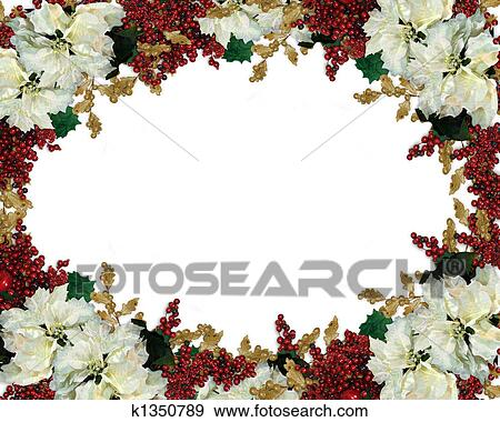 stock illustration christmas border white poinsettias fotosearch search vector clipart drawings