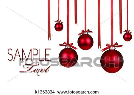 Christmas Holiday Ornaments Hanging With Bows on White Background - Drawings Of Christmas Holiday Ornaments Hanging With Bows K1353834