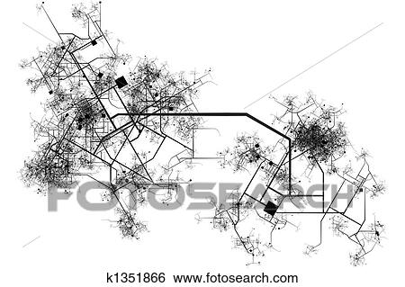 Stock illustration of city map blueprint k1351866 search clip art city map blueprint abstract of a city in a white background malvernweather Gallery