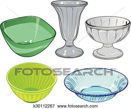 clipart ensemble de verrerie et vase verre et. Black Bedroom Furniture Sets. Home Design Ideas