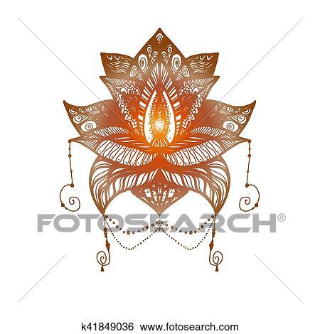 Clipart Fleur Lotus Tatouage K41849036 Recherchez Des Cliparts
