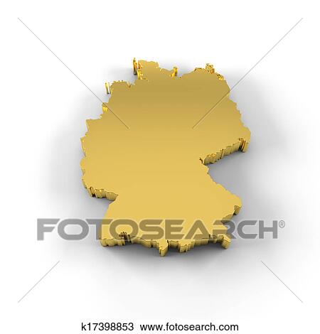 Map Of Germany 3d.Drawing Of Germany Map 3d Gold K17398853 Search Clipart