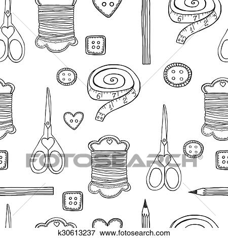 Clip Art - hand, gezeichnet, nähen, seamless, muster k30613237 ...