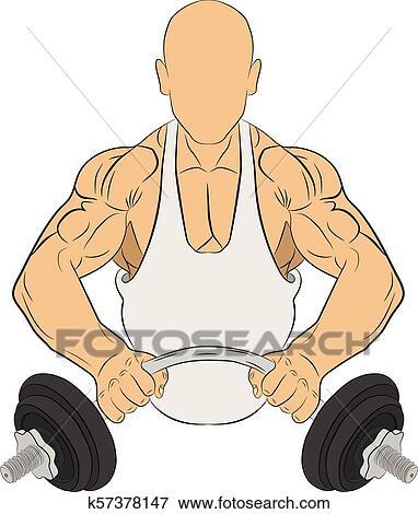 Homem Musculo Com Barbell Edificio Corpo Conceito Vetorial