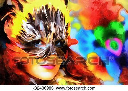 Dessin Informatique Peinture Collage Jeune Indien Femme
