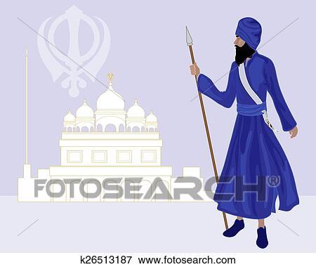 Clip Art Of Khalsa Sikh K26513187 Search Clipart Illustration