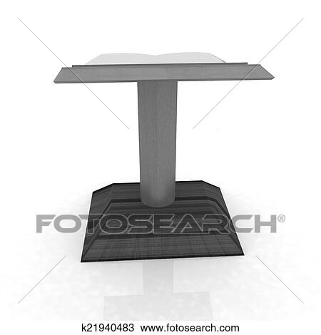 Podium with an open book Drawing