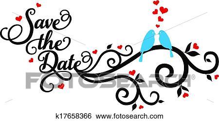 clip art of save the date wedding birds vecto k17658366 search rh fotosearch com save the date clipart free save the date clipart free download