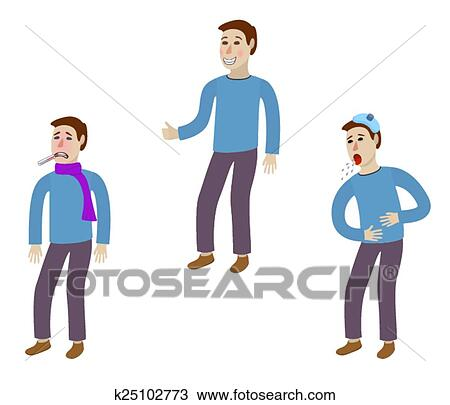 Clipart Of Sick And Healthy Man K25102773 Search Clip Art