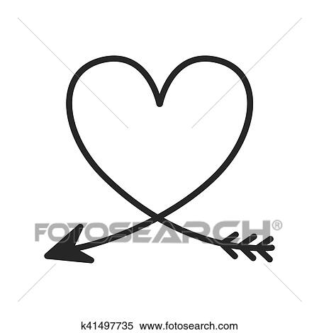 Silhouette of heart with arrow Clipart