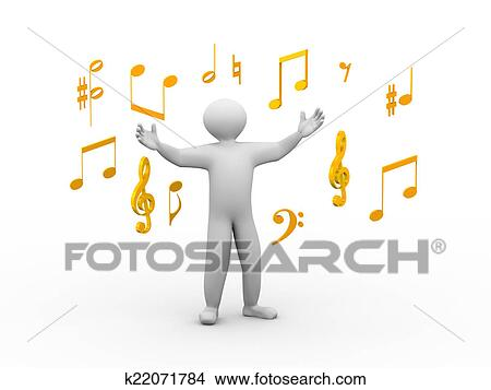 Drawings Of 3d Singing Person With Musical Notes K22071784 Search