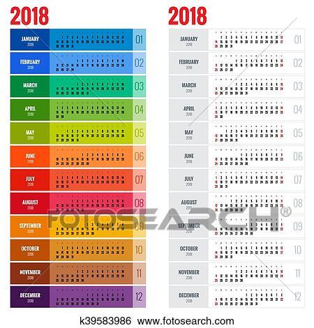 Calendrier Impression.Annuellement Calendrier Mural Planificateur Gabarit Pour 2018 Year Vecteur Conception Impression Template Semaine Debuts Sunday