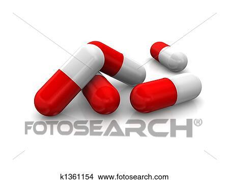 Bianco Rosso Pillole Sopra Sfondo Bianco Archivio Illustrazioni