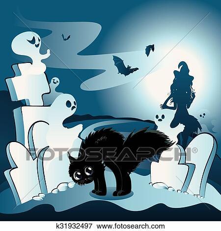 Cartone animato cimitero con fantasmi clip art k