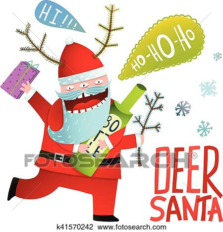 clipart drunk funny monster deer santa claus with horns and bottle christmas fotosearch - Drunk Christmas
