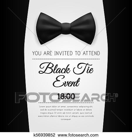 Elegante, corbata negra, acontecimiento, invitación, plantilla Clipart