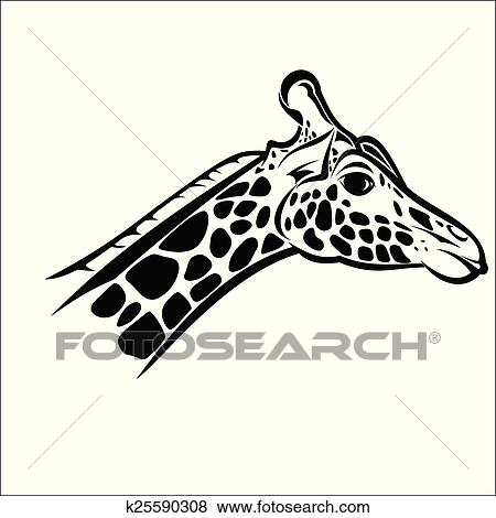 Clip Art Of Giraffe Head 2 K25590308