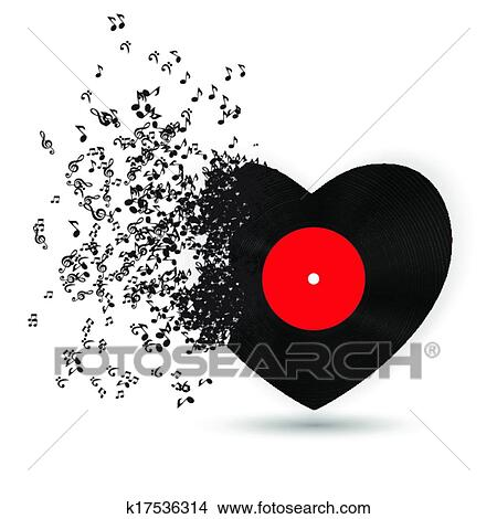 Clipart Of Happy Valentines Day Card With Heart Music Notes Vector