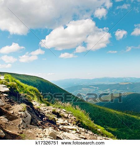 Mountain View From The Top Of Goverli Carpathians Stock Image