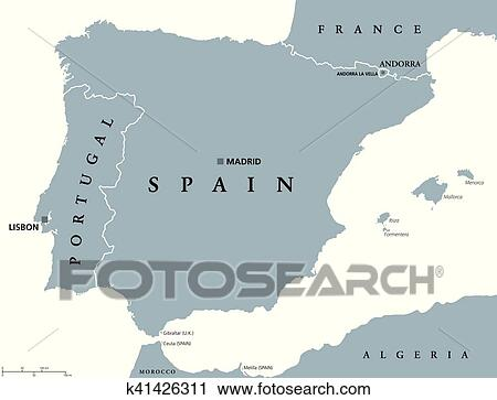 Clipart Of Portugal And Spain Political Map K41426311 Search Clip