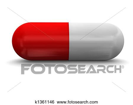 stock illustration of red white pills over white background k1361146