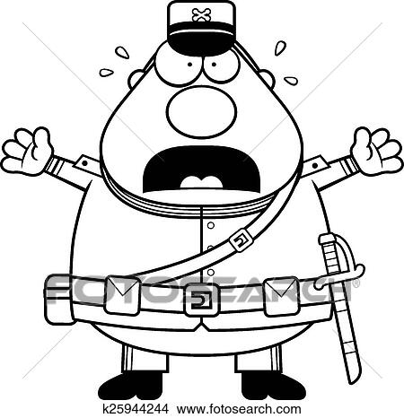 Clipart Of Scared Cartoon Union Soldier K25944244