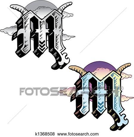 Banque D Illustrations Tatouage Style Lettre M Esprit K1368508