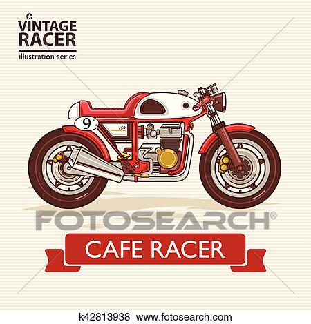 Clip Art Of Vintage Racing Motorcycle K42813938 Search Clipart