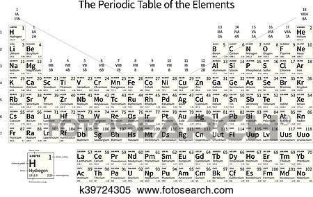 Clipart Of Black And White Monochrome Periodic Table Of The Elements