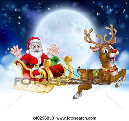 Christmas Scene.Christmas Cartoon Santa Reindeer Sleigh Scene Clipart