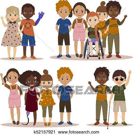 Clipart of Disabled children with friends. k52157921 ...